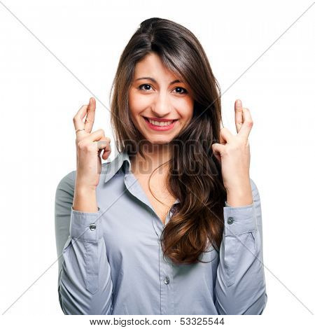 Woman with fingers crossed