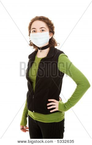 Teen Wearing Flu Mask