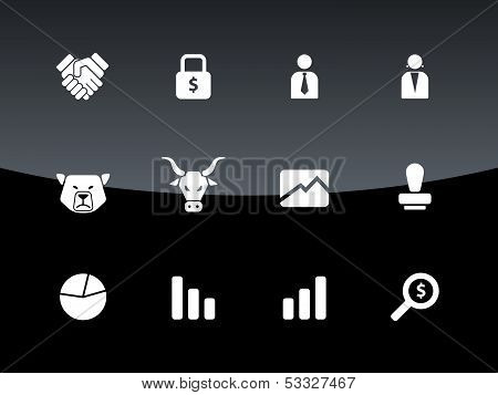 Finance icons on black background.