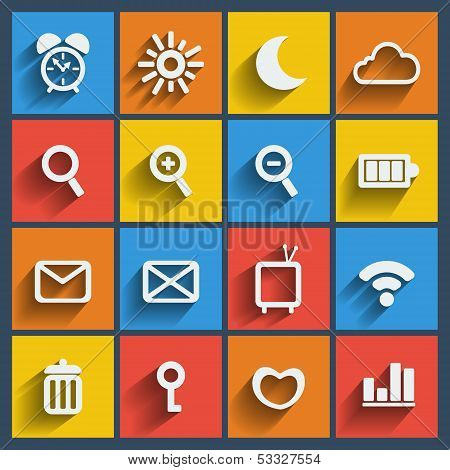 Set of 16 web and mobile icons. Vector.