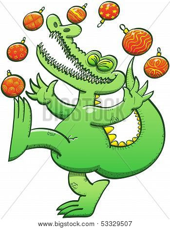 Green crocodile having fun while juggling Christmas baubles