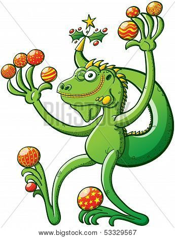 Green iguana winking while holding a lot of Christmas balls
