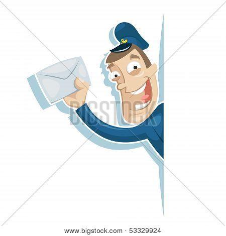 Postman Holding Letter