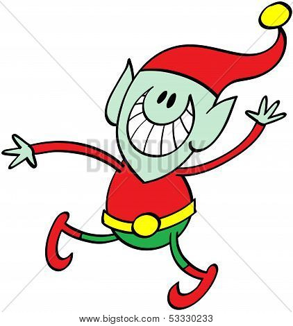 Christmas elf waving animatedly