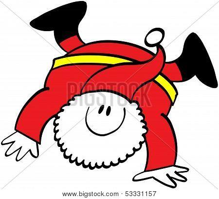Cute Santa Claus executing a cartwheel