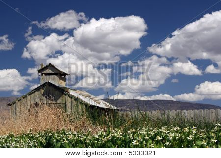 Barn With Cloudy Sky