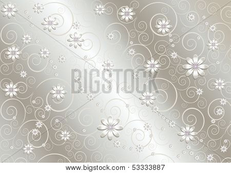 Light flowers and twisted lines on shiny gray background