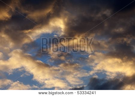 Sky With Storm Clouds At Sunset