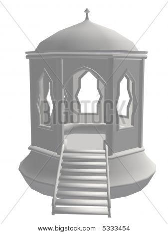 White Pavilion With A Bridge