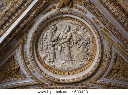 Vatican Ceiling Inside Sculpture Christ Talking To His Disciples Rome Italy
