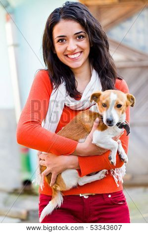 Smiling Woman With Pet