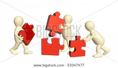 Conceptual image - success of teamwork. Three puppets with puzzles. Isolated on white background