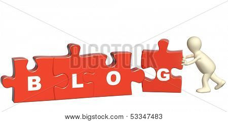 Puppet with puzzles. Isolated on white background