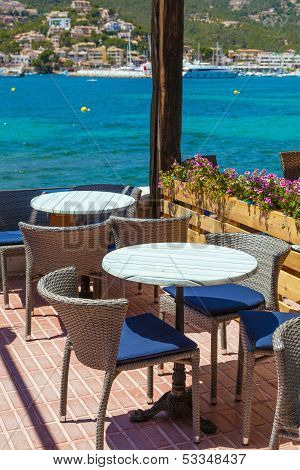 Scenic Cafe Besides Mediterranean Sea