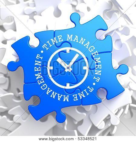 Time Management Concept on Blue Puzzle.