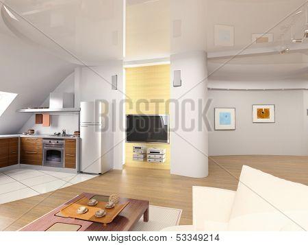modern penthouse  interior design
