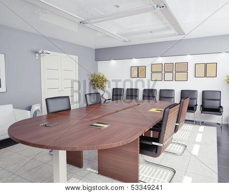modern office interior (3D rendering)