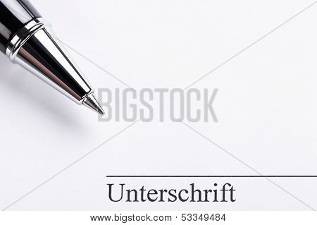 Macro Closeup Sign Document Contract Pen Filler
