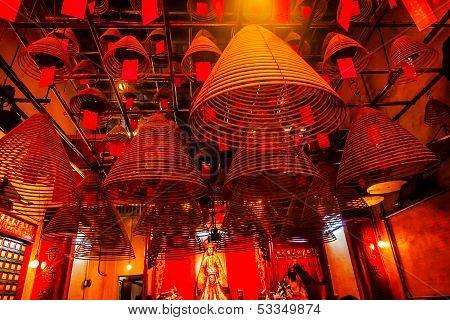 Incense Cones Hanging Chinese Gods Man Mo Temple  Hong Kong