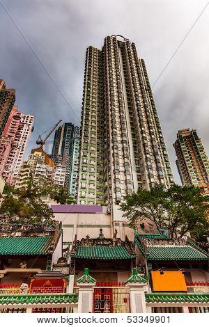 Man Mo Temple  Apartment Buildings Hong Kong China