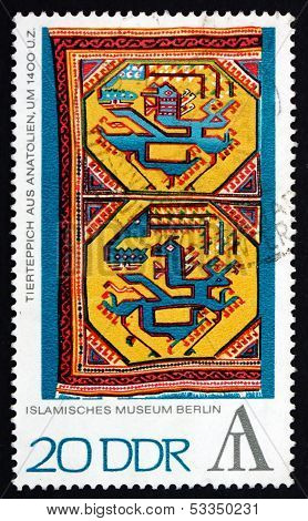 Postage Stamp Gdr 1972 Tapestry With Animal Design, Anatolia