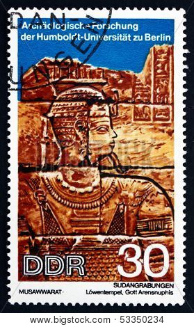 Postage Stamp Gdr 1970 Head Of God Arensnuphis, Sudan