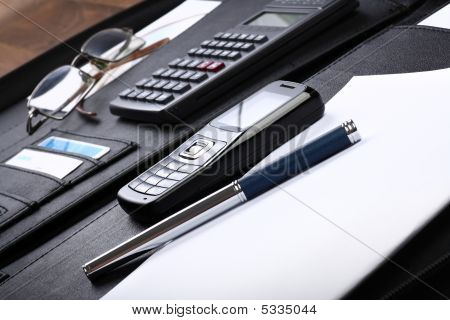 Black Business Briefcase Open Wide, Diagonal Composition