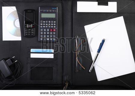 Black Business Briefcase Open Wide