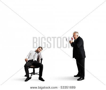angry boss screaming at lazy worker. isolated on white background