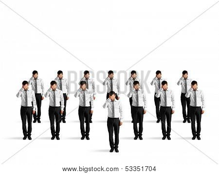 depressed crowd of businessmen isolated on white background