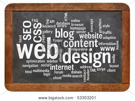 cloud of words or tags related to web or website design on a  vintage slate blackboard isolated on white