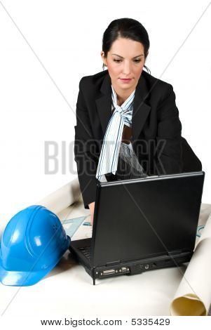 Constructor Woman Engineer Work In Office