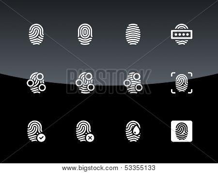 Fingerprint icons on black background.
