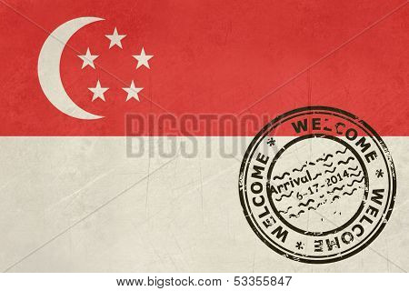 Welcome to Singapore flag with passport stamp