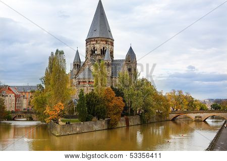 Temple Neuf De Metz On Moselle River - Lorraine, France.