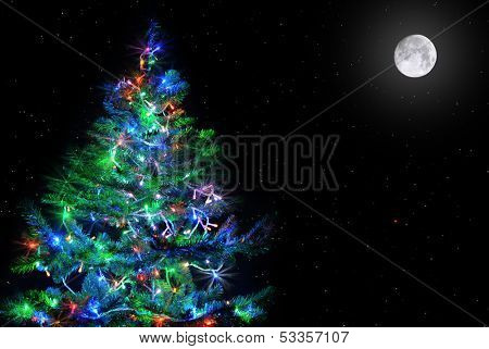 lighten Christmas tree on natural dark star sky with full moon
