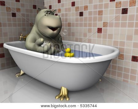 Cartoon Hippo In Bathtub.
