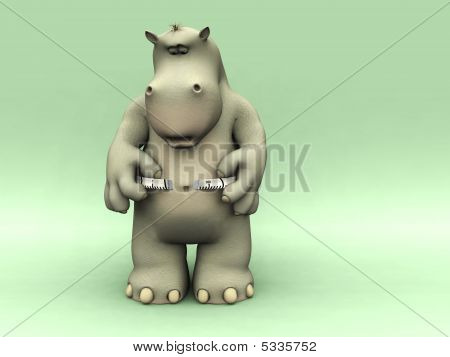 Shocked Cartoon Hippo Measuring His Waist.