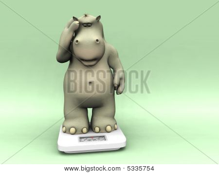 Shocked Cartoon Hippo On Scales.