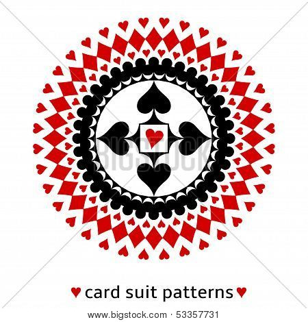 Card suit geometric ornament with a heart