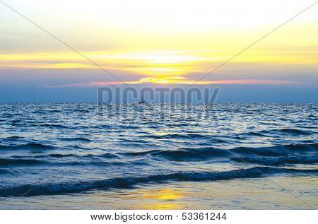 Blue Sky With Sun Set