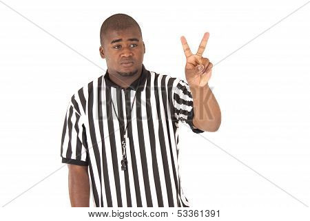 Close Up Of Black Referee Calling A Two Shot Foul