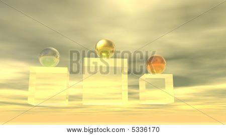 Podium With Metallic Balls