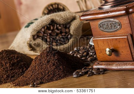 Italian coffee on wooden table with brown background