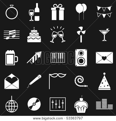 Celebration Icons On Black Background
