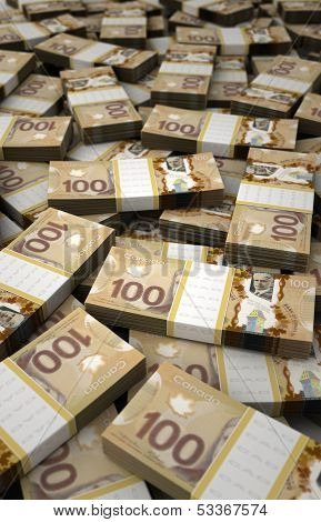 Stack Of Canadian Dollar