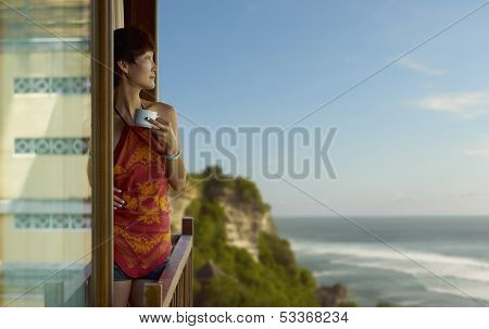 Young Woman Overlook The Sea
