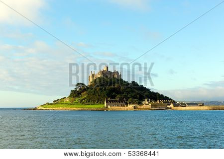 English medieval castle and church on island in Cornwall