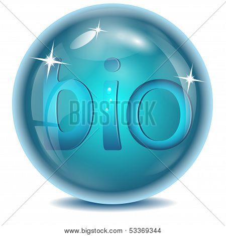blue ball with blue letters inwardly on a white background