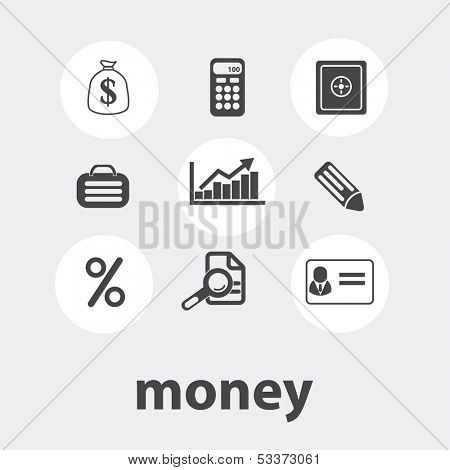 money icons set, vector